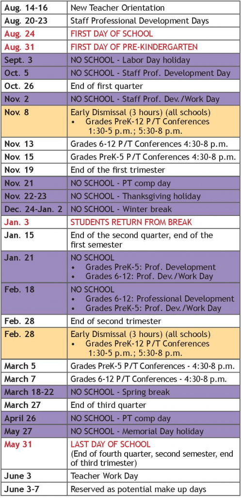 Johnston School District Academic Calendar 2018-2019