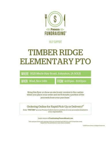 November 14, 4-8 p.m. TR PTO: Dine-to-Donate: Panera